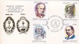 PERSONALIDADES II-FDC 1985 BUENOS AIRES. 4 DIFFERENT STAMPS. CARD- BLEUP - Celebridades