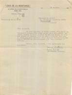 CEUX DE LA RESISTANCE  10/1945  POUR ENVOYER UNE DEMOISELLE LECOMTE EN CONVALESCENCE SIGNE JEANNE MATHIEU - 1939-45