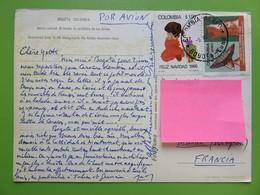 Colombie - Carte Postale - Bogota Vers France - Par Avion - Cachet Aérien + Timbre Feliz Navidad 1969 - 09.07.1970 - Colombia