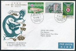 1966 Taipei - Nagoya First Flight Cover. JAL Japan Air Lines Tokyo - Hong Kong Route - 1945-... Republic Of China