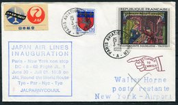 1968 France USA First Flight Cover. JAL Japan Air Lines. Paris - New York - Airmail