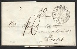 1833 - LAC - VALLERY SUR SOMME A PARIS - Marcophilie (Lettres)