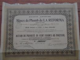 ESPAGNE - MINES DE PLOMB DE LA REFORMA - ACTION DE PRIORITE - DE 100 FRS - LYON 1911 - Shareholdings
