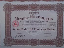 NOUVEAU - ALGERIE  - CONSTANTINE - MINES DE BOUDOUKHA - ACTION B DE 100 FRS - 1928 - Aandelen