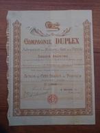 NORD - PRES MAUBEUGE - CIE DUPLEX, FABRICATION MOTEURS A GAZ ET A PETROLE - ACTION 100 FRS, 1899- FERRIERES LA GRANDE - Actions & Titres