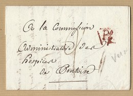 LAC Commission Administrative Des Hospices De Pontoise 18/7/1810 Verso Tampon Hospice De La Maternité - 1801-1848: Précurseurs XIX