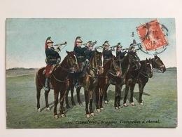 AK Cavalerie Dragons Trompettes A Cheval Soldat Militaire Francais - Guerre 1914-18