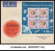 GHANA - 1964 GHANA INTERNATIONAL QUIET SUN YEARS / SPACE - M/S - FDC - Ghana (1957-...)