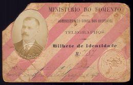 1912 Cartão Bilhete Identidade CORREIOS E TELEGRAPHOS Porte De Armas ... PORTUGAL - Abonnements Hebdomadaires & Mensuels