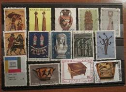 Grecia Greece 1970 - 1979 Lot Ancient Art Sculpture Ceramic 14 Stamps Used - Grecia