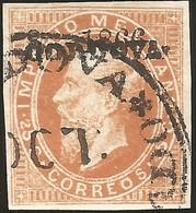 J) 1866 MEXICO, EMPEROR MAXIMILIAN, 25 CENTS, CIRCULAR CANCELLATION, MN - Mexique