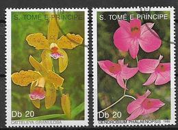SAINT-THOMAS ET PRINCE   1989     FIORI ORCHIDEE    YVERT 946-947   USATA   VF - Sao Tomé E Principe