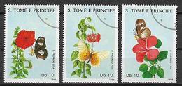 SAINT-THOMAS ET PRINCE   1988    FIORI E FARFALLE    YVERT  920-922   USATA   VF - Sao Tomé E Principe