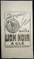 Ancien Buvard La Boite Lion Noir à Clé Cirage - Produits Ménagers