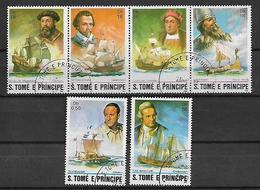 SAINT-THOMAS ET PRINCE   1982 STORIA DELLA NAVIGAZIONE MARITTIMA YVERT. 701-706 USATA VF - Sao Tomé E Principe