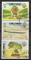 SAINT-THOMAS ET PRINCE   1983  PRIMA ASCENSIONE DELL'UOMO NELL'ATMOSFERA YVERT. 741-743 USATA VF - Sao Tomé E Principe