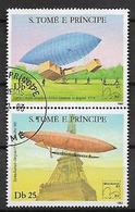 SAINT-THOMAS ET PRINCE   1983  PRIMA ASCENSIONE DELL'UOMO NELL'ATMOSFERA YVERT. 739-740 USATA VF - Sao Tomé E Principe