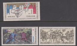 Czechoslovakia Scott 2002-2004 1975 30th Anniversary May Uprosing, Mint Never Hinged - Czechoslovakia