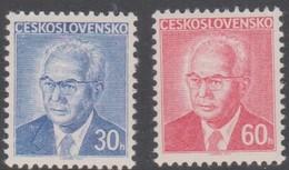 Czechoslovakia Scott 2035-2036 1975 Pres Gustav Husak, Mint Never Hinged - Czechoslovakia