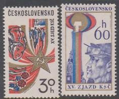 Czechoslovakia Scott 2061-2062 1976 15th Communist Party Congress, Mint Never Hinged - Czechoslovakia
