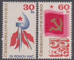 Czechoslovakia Scott 2068-2069 1976 Communist Party 55th Anniversary, Mint Never Hinged - Czechoslovakia