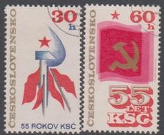 Czechoslovakia Scott 2068-2069 1976 Communist Party 55th Anniversary, Used - Czechoslovakia