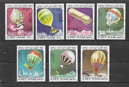 VIETNAM   1983 PRIMA ASCENSIONE DELL'UOMO NELL'ATMOSFERA YVERT. 394-400 USATA VF - Vietnam