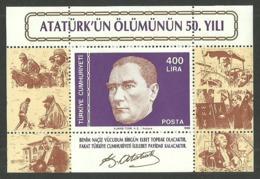 TURKEY 1988 ATATURK DEATH 50TH ANNIVERSARY M/SHEET MNH - 1921-... Republic