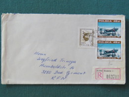 Poland 1989 Registered Cover Krakow To Germany - Planes - Man Head - 1944-.... Repubblica