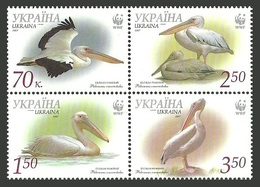 UKRAINE 2007 WWF ENDANGERED SPECIES BIRDS GREAT WHITE PELICAN SET MNH - Ukraine