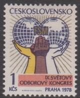 Czechoslovakia Scott 2167 1978 9th World Trade Union Congress, Mint Never Hinged - Czechoslovakia
