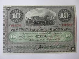 Cuba 10 Pesos 1896 With PLATA(Gold) Overprint Banknote UNC - Cuba