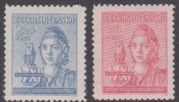Czechoslovakia Scott B154-155 1945 Student World Congress Prtague, Mint Never Hinged - Unused Stamps