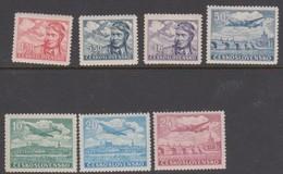 Czechoslovakia Scott C19-C27 1947 Air Mail 7 Values, Mint Hinged - Czechoslovakia