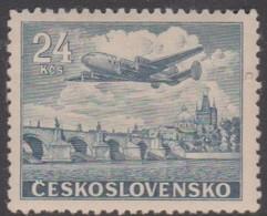 Czechoslovakia Scott C25 1946 Air Mail 24k Blue, Mint Never Hinged - Czechoslovakia