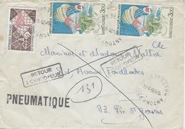 1974 -PNEUMATIQUE  Affr. à7,00 F D'ANTONY - Marcophilie (Lettres)