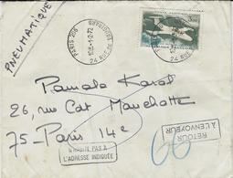 1972 -PNEUMATIQUE  Affr. à 3,00 F  De Paris 206  ( T P Ae SEUL  ) - Marcophilie (Lettres)