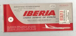 Billet D'embarquement Avion, IBERIA , 1958 , GENEVA-MADRID-TANGER-GENEVA,3 Scans ,frais Fr 1.55 E - Plane Ticket