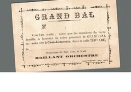 Cpa Carton Invitation Grand Bal Chez Limouzin Charente 16 Salle Terrade Brillant Orchestre Déstockage à Saisir - Faire-part