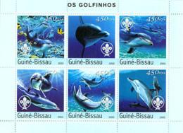 Guinea Bissau 2003  Dolphins & Scouts ,fauna - Guinea-Bissau