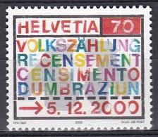Schweiz Switzerland Helvetia 2000 Staatswesen Statistik Statistic Volkszählung Census Karte Kreuz, Mi. 1730 ** - Schweiz
