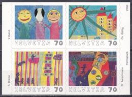 Schweiz Switzerland Helvetia 2000 Malwettbewerb Zukunft Auf Briefmarken Future Zeichnungen Drawing, Mi. 1731-4 ** - Schweiz