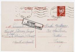 """MEURTHE ET MOSELLE ENTIER PETAIN 1F20 1942 NANCY RP + RARE GRIFFE LINEAIRE """" RETOUR / CAUSE DE GUERRE """" - Guerres"""