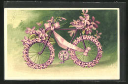 Präge-AK Mit Veilchen Geschmücktes Fahrrad - Cartes Postales