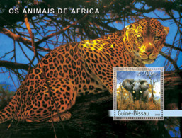 Guinea Bissau 2003 Animals Of Africa ,fauna  Elephant ,leopard - Guinée-Bissau