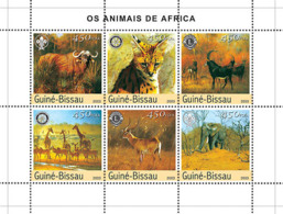Guinea Bissau 2003 Animals Of Africa ,fauna  Elephant ,buffalo - Guinée-Bissau