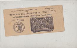 Petit Laissez-Passer Pour Les Vélocipède Année 1942 - Postkaarten