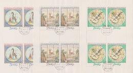 Czechoslovakia Scott 1959-1961 1974 Painted Folk-Art Targets, Sheetlets, Used - Blocks & Sheetlets