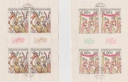 Czechoslovakia Scott 1996-1999 1975 Folk Costumes, Sheetlets, Used - Blocks & Sheetlets