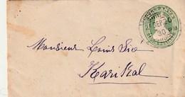ENTIER POSTAL BRITANNIQUE UTILISE A PONDICHERY POUR KARIKAL 1920 - Inde (1892-1954)